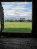 Countryside view from inside the Tithe Barn