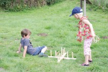 Children playing games at Tithe Barn open day
